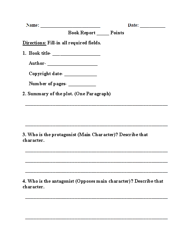 Englishlinx.com  Book Report Worksheets Pertaining To Book Report Template 5th Grade