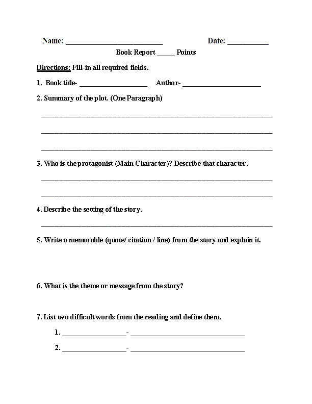 Englishlinx Throughout One Page Book Report Template