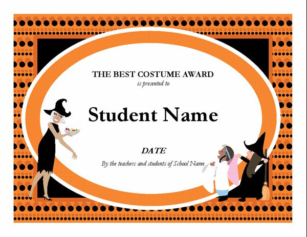 Essay Contest Award Regarding Halloween Costume Certificate Template