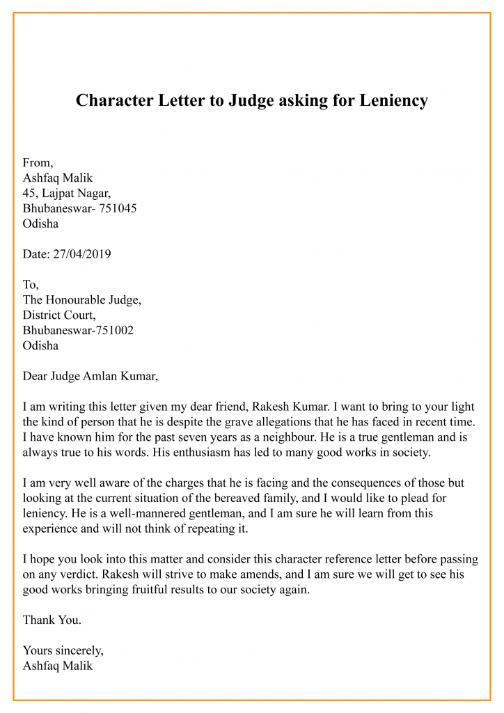 Example of Character Reference Letter To Judge Template  In Letter To Judge Template Throughout Letter To Judge Template
