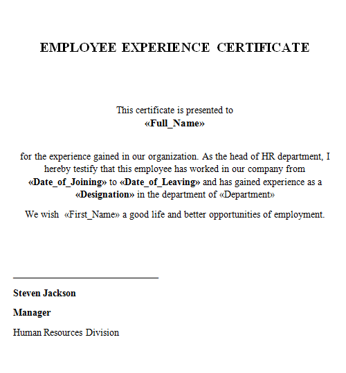 Experience Certificate - Lenvica HRMS With Regard To Template Of Experience Certificate Pertaining To Template Of Experience Certificate