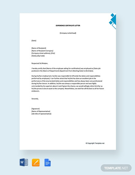 Experience Certificate Letter Template [Free PDF] - Word  Apple  Inside Template Of Experience Certificate Intended For Template Of Experience Certificate