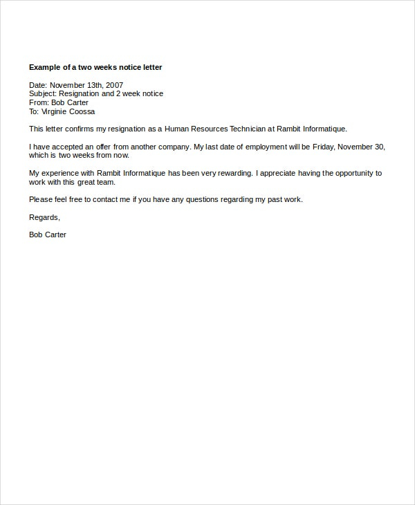 Extraordinary Two Weeks Notice Pdf Resignation Letter Examples  Regarding Two Week Notice Template Word With Two Week Notice Template Word