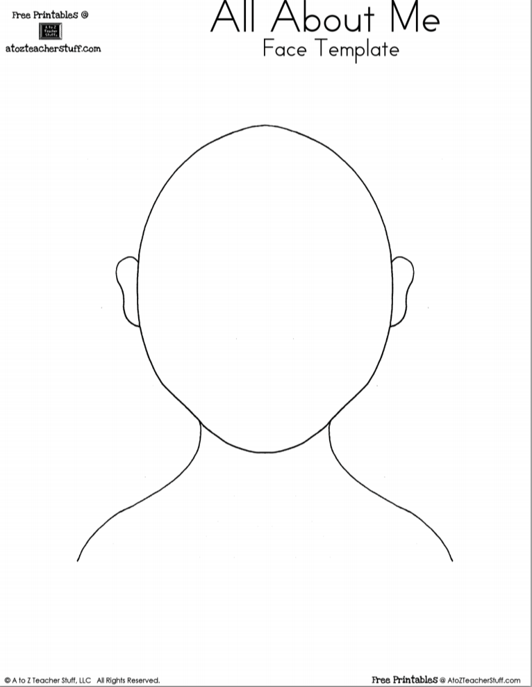 Face Template  A to Z Teacher Stuff Printable Pages and Worksheets Pertaining To Blank Face Template Preschool Throughout Blank Face Template Preschool