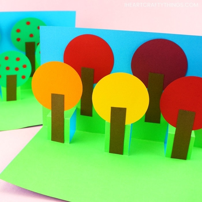 Fall Pop Up Tree Card - Easy Paper Craft for Kids! Inside Pop Up Tree Card Template With Regard To Pop Up Tree Card Template