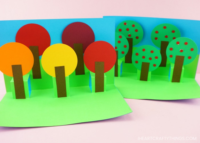 Fall Pop Up Tree Card - Easy Paper Craft for Kids! Within Pop Up Tree Card Template In Pop Up Tree Card Template