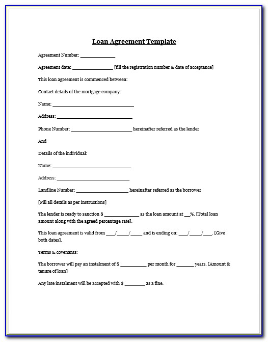 Family Loan Agreement Template Uk  vincegray11 With Regard To Blank Loan Agreement Template Regarding Blank Loan Agreement Template