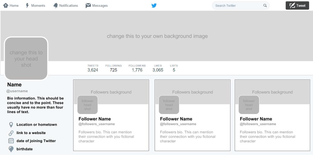Fictional Twitter Profiles In Blank Twitter Profile Template Inside Blank Twitter Profile Template