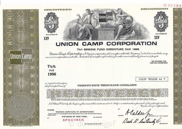"""File:Union Camp Corporation - A Specimen """"Sinking Fund"""" Bond  Regarding Corporate Bond Certificate Template With Regard To Corporate Bond Certificate Template"""