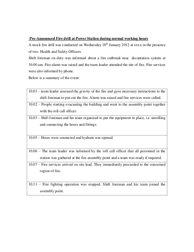 Fire drill report Intended For Emergency Drill Report Template Intended For Emergency Drill Report Template