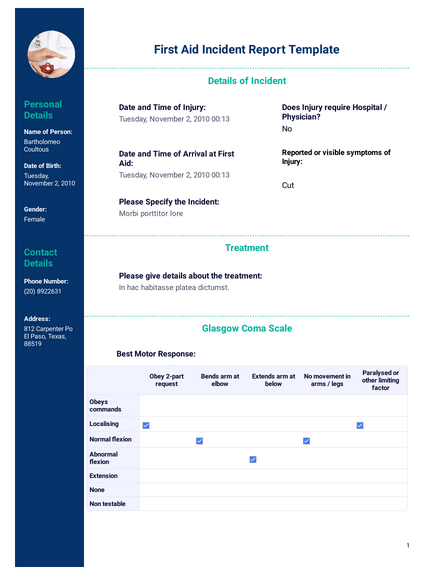 First Aid Incident Report Template - PDF Templates  JotForm For Patient Care Report Template