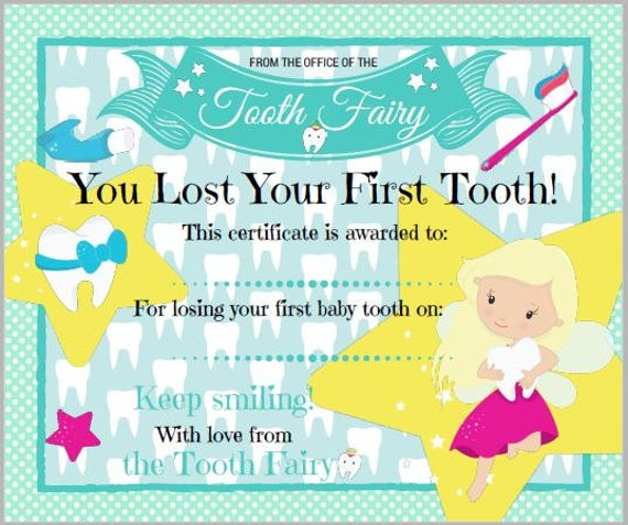 First Tooth, Tooth Fairy Certificate Inside Tooth Fairy Certificate Template Free Regarding Tooth Fairy Certificate Template Free