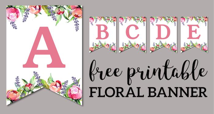 Floral Free Printable Alphabet Letters Banner  Paper Trail Design Intended For Printable Letter Templates For Banners Pertaining To Printable Letter Templates For Banners