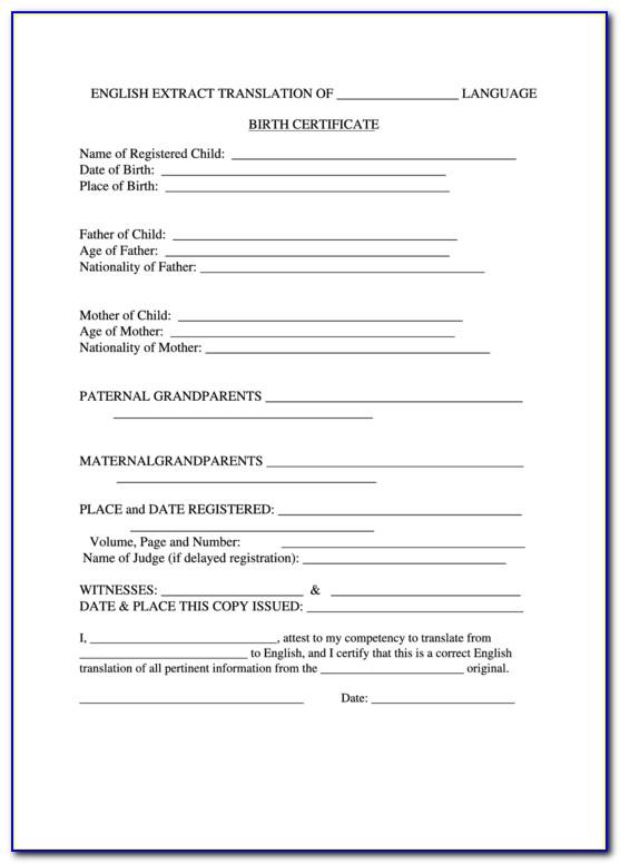 Form I 11 Birth Certificate Translation  vincegray11 In Uscis Birth Certificate Translation Template Regarding Uscis Birth Certificate Translation Template