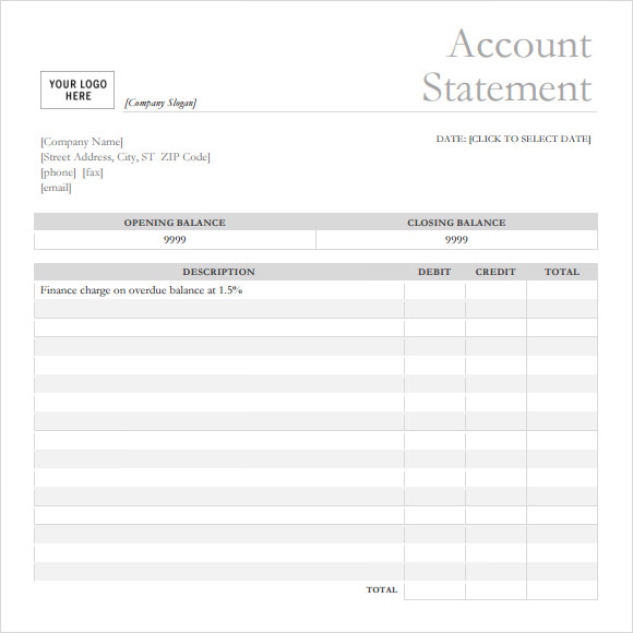 FREE 11+ Bank Statement Templates in PDF For Blank Bank Statement Template Download For Blank Bank Statement Template Download