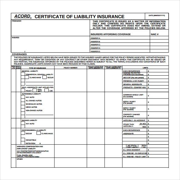 FREE 11+ Certificate of Insurance Templates in PDF  MS Word Regarding Acord Insurance Certificate Template Inside Acord Insurance Certificate Template