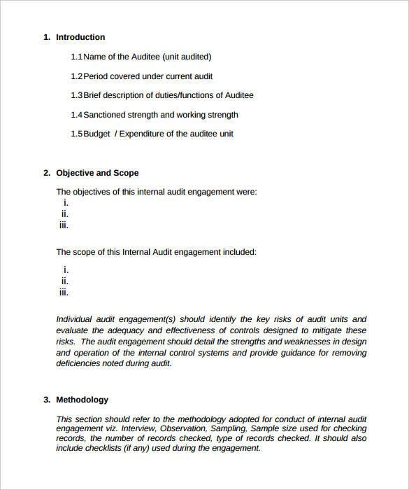FREE 11+ Internal Audit Report Templates in PDF  MS Word Within Internal Control Audit Report Template Throughout Internal Control Audit Report Template
