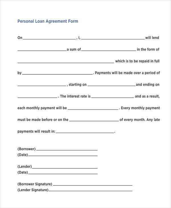 FREE 11+ Personal Loan Agreement Forms in PDF  MS Word For Blank Loan Agreement Template In Blank Loan Agreement Template