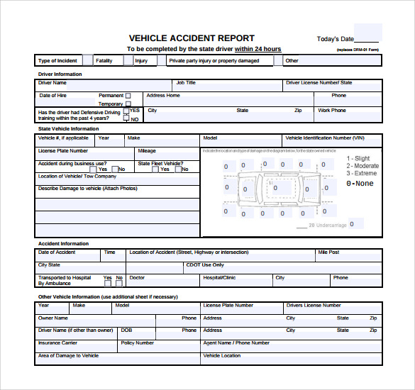 FREE 11+ Sample Accident Report Templates in PDF  MS Word  Pages Inside Car Damage Report Template For Car Damage Report Template