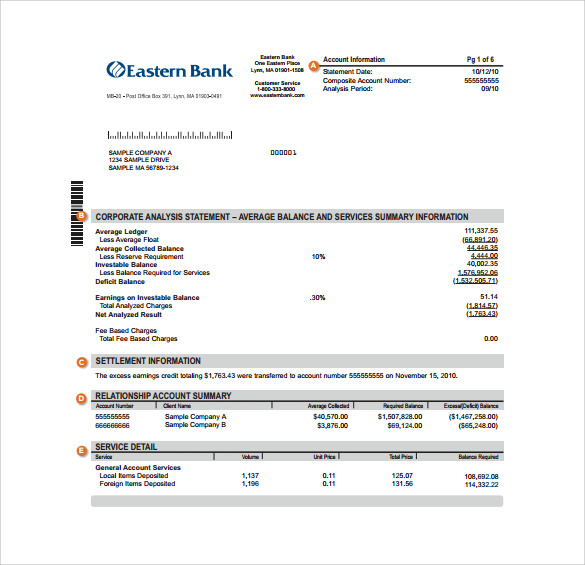 FREE 11+ Sample Bank Statement Templates in PDF  MS Word  Excel Pertaining To Blank Bank Statement Template Download Within Blank Bank Statement Template Download