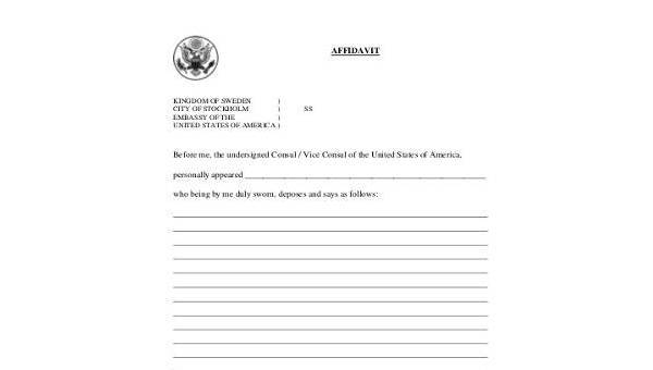 FREE 11+ Sample Blank Affidavit Forms in PDF  MS Word  Excel Intended For Blank Legal Document Template Within Blank Legal Document Template