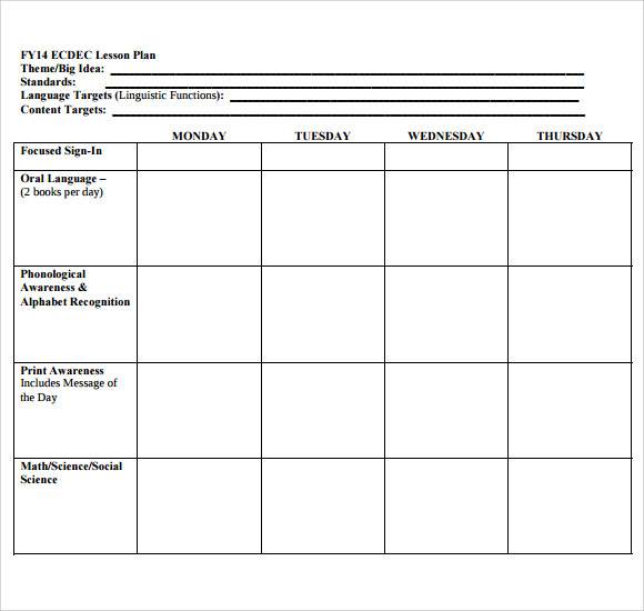 FREE 11+ Sample Blank Lesson Plan Templates in PDF Inside Blank Preschool Lesson Plan Template For Blank Preschool Lesson Plan Template