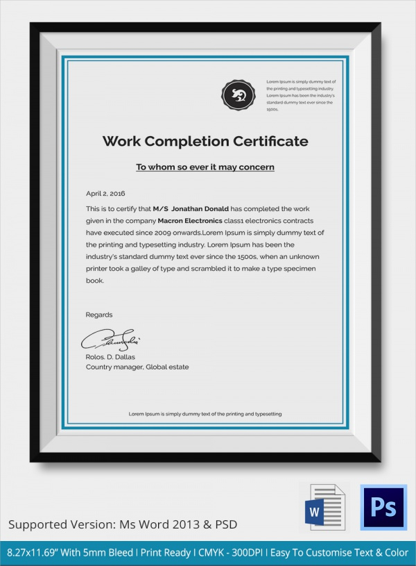 FREE 11+ Sample Certificate of Completion Templates in AI  Intended For Certificate Of Completion Template Construction Pertaining To Certificate Of Completion Template Construction