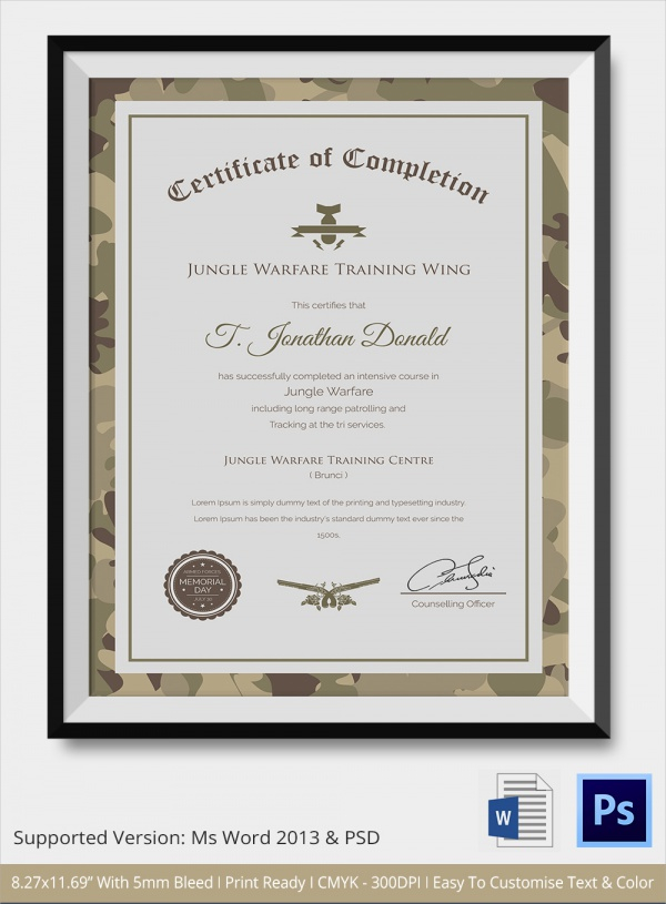 FREE 11+ Sample Certificate of Completion Templates in AI  Pertaining To Army Certificate Of Completion Template Throughout Army Certificate Of Completion Template