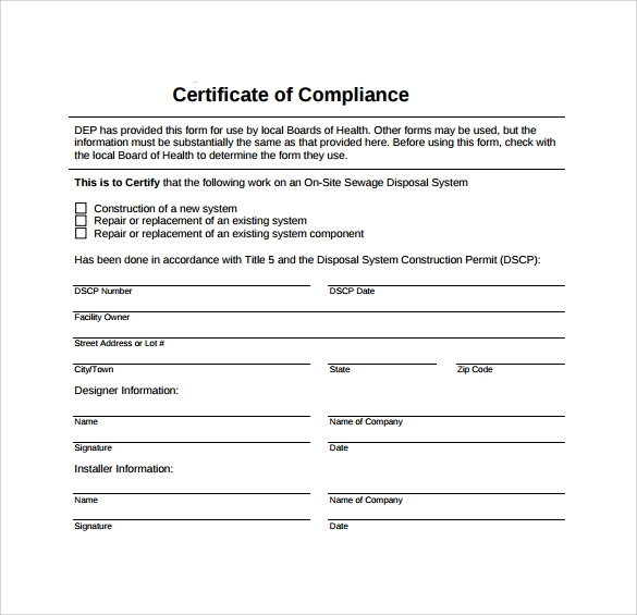 FREE 11+ Sample Certificate of Compliance in PDF  PSD  AI  InDesign Intended For Certificate Of Compliance Template Regarding Certificate Of Compliance Template
