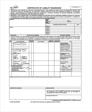 FREE 11+ Sample Certificate of Liability Insurance Forms in PDF  Throughout Acord Insurance Certificate Template Within Acord Insurance Certificate Template