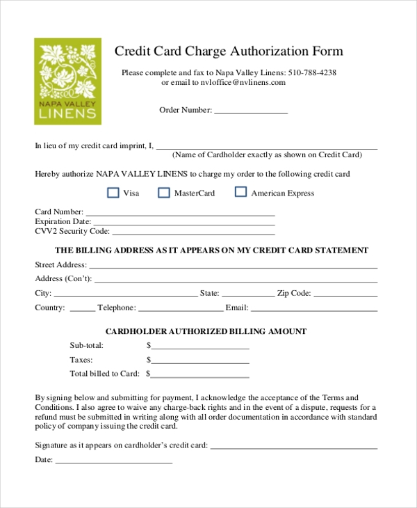 FREE 11+ Sample Credit Card Authorization Forms in PDF  MS Word  In Authorization To Charge Credit Card Template With Authorization To Charge Credit Card Template