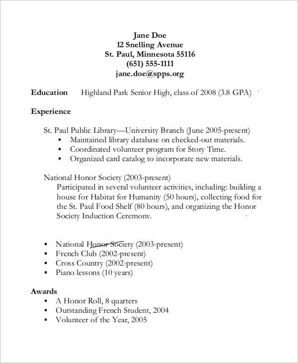 FREE 11+ Sample High School Resume Templates in PDF  MS Word Pertaining To High Resume Templates What To Look For With Regard To High Resume Templates What To Look For