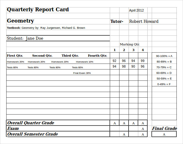 FREE 11+ Sample Homeschool Report Card Templates in PDF  MS Word  Pertaining To Report Card Format Template Inside Report Card Format Template