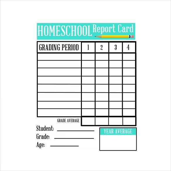 FREE 11+ Sample Homeschool Report Card Templates in PDF  MS Word  Throughout Report Card Template Pdf For Report Card Template Pdf