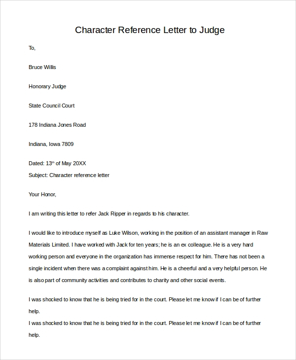 FREE 11+ Sample Letters of Reference Templates in PDF  MS Word Inside Letter To Judge Template With Regard To Letter To Judge Template