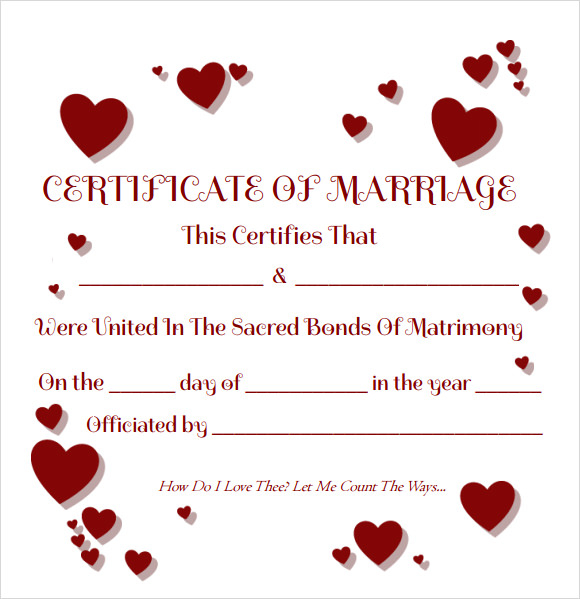 FREE 11+ Sample Marriage Certificate Templates in PDF  MS Word With Regard To Love Certificate Templates Intended For Love Certificate Templates