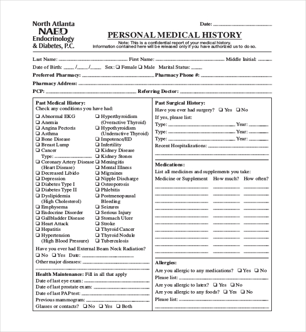 FREE 11+ Sample Medical History Forms in PDF  Word  Excel Intended For History And Physical Template Word For History And Physical Template Word