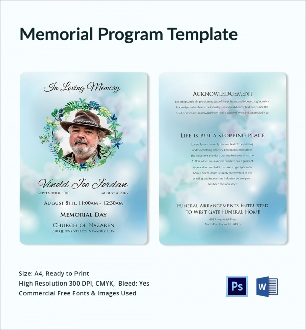FREE 11+ Sample Memorial Program Templates in AI PSD  Pages  MS Word Pertaining To Memorial Brochure Template Pertaining To Memorial Brochure Template