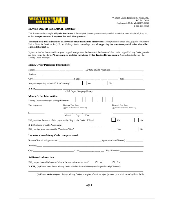 FREE 11+ Sample Money Order Forms in MS Word  PDF Within Blank Money Order Template Inside Blank Money Order Template