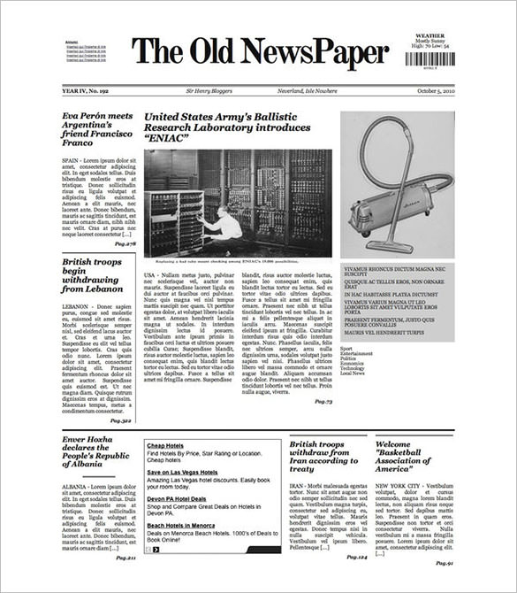 FREE 11+ Sample Old Newspaper Templates in PDF  PSD  MS Word With Old Newspaper Template Word Free With Regard To Old Newspaper Template Word Free