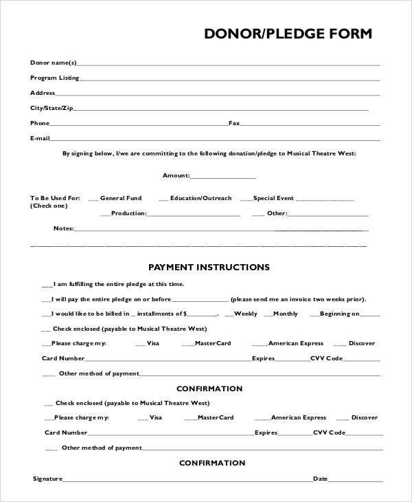 FREE 11+ Sample Pledge Forms in PDF  MS Word Regarding Free Pledge Card Template Throughout Free Pledge Card Template