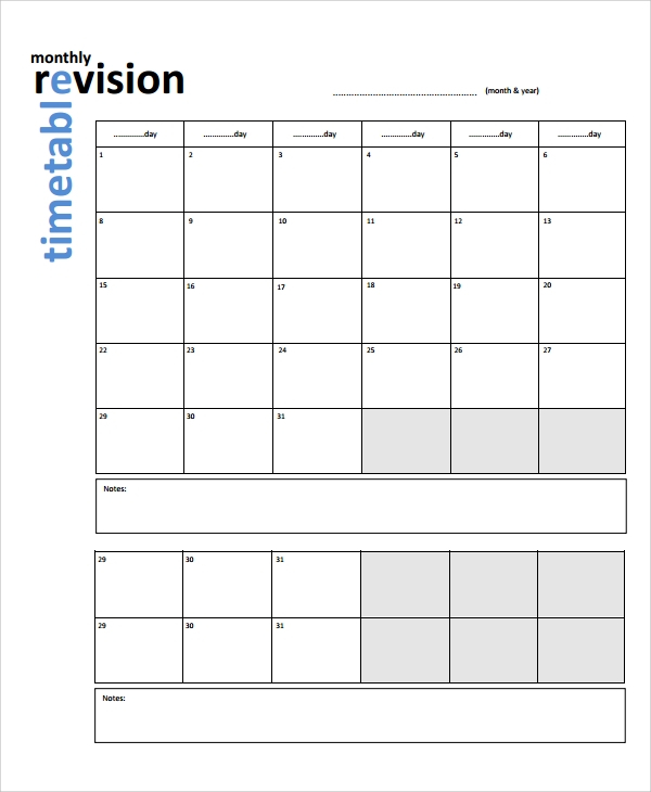 FREE 11+ Sample Revision Timetable Templates in PDF  MS Word Regarding Blank Revision Timetable Template With Regard To Blank Revision Timetable Template