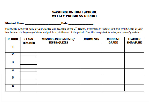 FREE 11+ Sample Weekly Progress Reports in PDF  MS Word Pertaining To High School Progress Report Template Pertaining To High School Progress Report Template