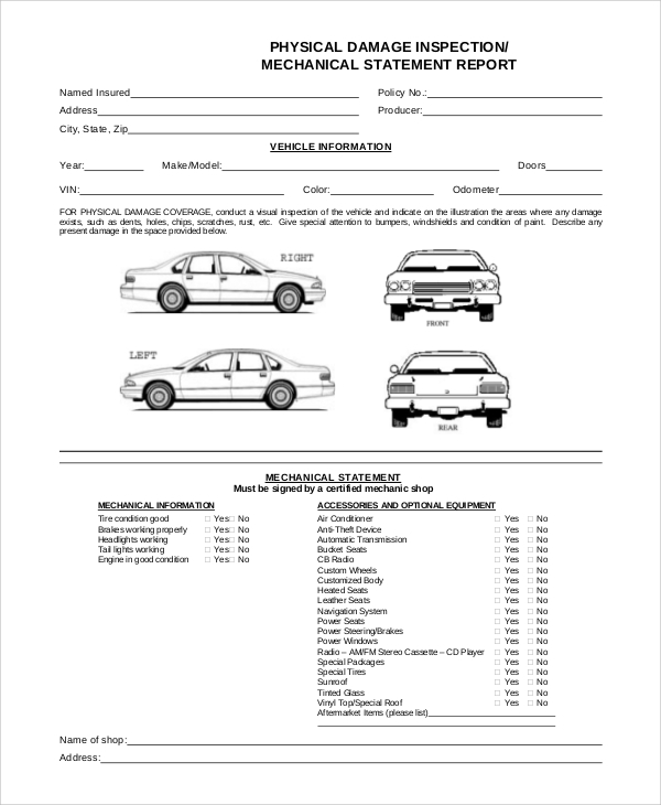 FREE 11+ Vehicle Inspection Forms in PDF  MS Word For Truck Condition Report Template