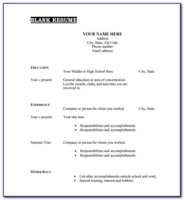 Free Blank Resume Template Download  vincegray11 Within Free Blank Cv Template Download With Free Blank Cv Template Download
