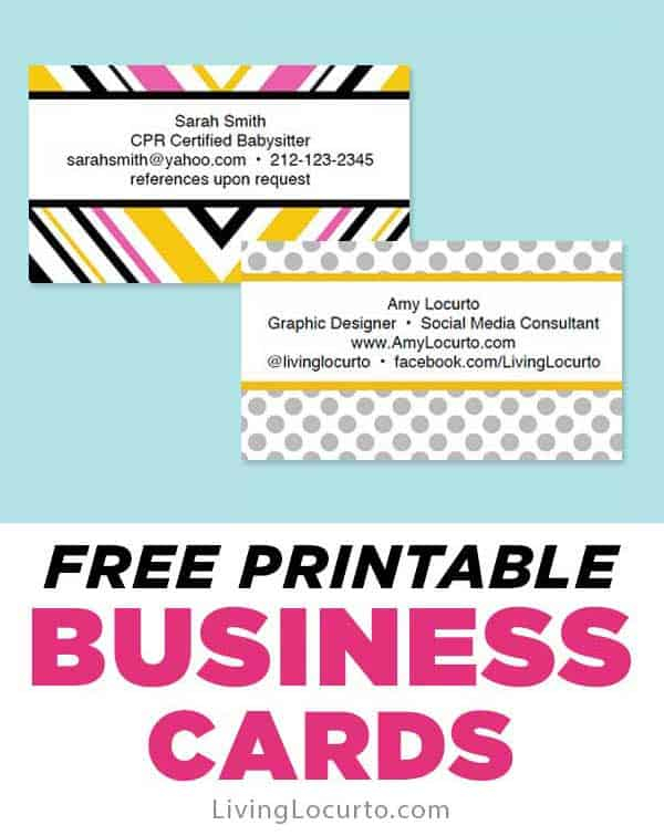Free Business Cards - Easy Printables - Living Locurto Pertaining To Free Template Business Cards To Print Pertaining To Free Template Business Cards To Print
