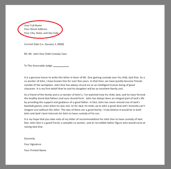 Free Character Reference Letter (for Court) Template - Samples  Within Letter To Judge Template Pertaining To Letter To Judge Template