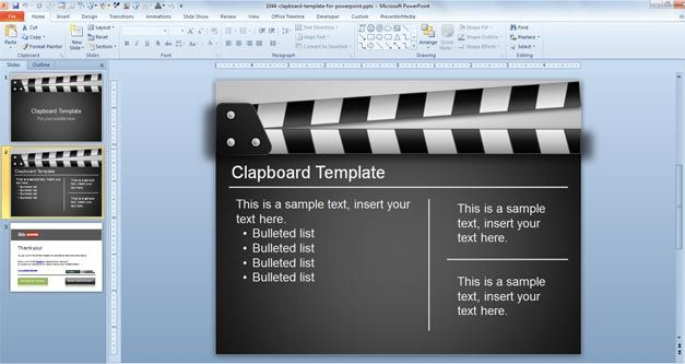 Free Clapboard PowerPoint Template - Free PowerPoint Templates  Throughout Powerpoint Animated Templates Free Download 2010 Within Powerpoint Animated Templates Free Download 2010