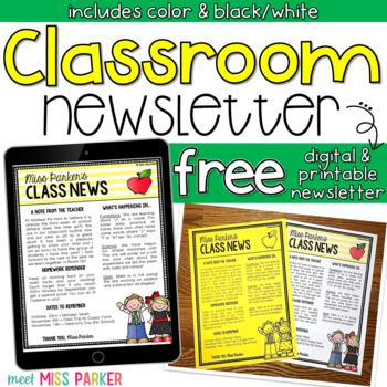 Free Classroom Newsletter Digital Printable for Back to School Regarding Free School Newsletter Templates