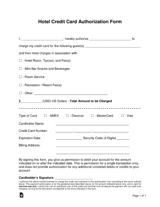 Free Credit Card (ACH) Authorization Forms - PDF  Word – eForms Intended For Authorization To Charge Credit Card Template Inside Authorization To Charge Credit Card Template